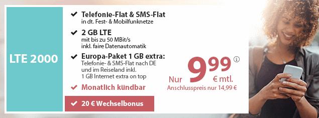 Der beste Handyvertrag mit 2 GB LTE