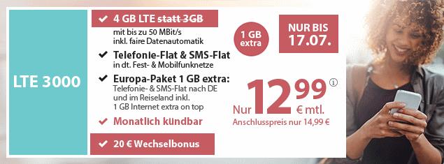 Der beste Handyvertrag mit 4 GB LTE